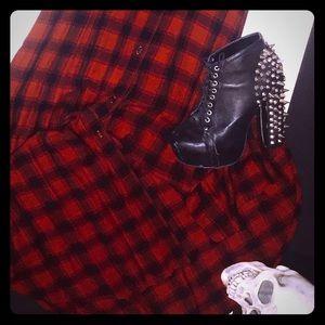 Red Plaid Button Maxi Vest/Dress